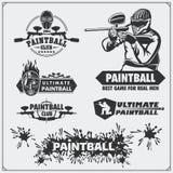 Grupo de etiquetas do clube do paintball, de emblemas, de símbolos, de ícones e de elementos do projeto Fotos de Stock