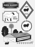 Grupo de etiquetas do cordeiro, de carne de carneiro, de crachás e de elementos superiores do projeto Vetor Imagem de Stock Royalty Free