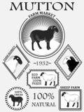 Grupo de etiquetas do cordeiro, de carne de carneiro, de crachás e de elementos superiores do projeto Vetor Fotografia de Stock Royalty Free