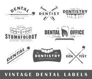 Grupo de etiquetas do dentista do vintage Fotografia de Stock Royalty Free