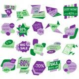 Grupo de etiquetas do disconto da venda, etiquetas, emblemas Fotografia de Stock Royalty Free