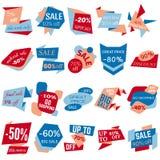 Grupo de etiquetas do disconto da venda, etiquetas, emblemas Coleção da Web das etiquetas e dos crachás para a venda Imagens de Stock Royalty Free
