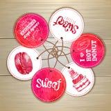 Grupo de etiquetas do doce ou da sobremesa Imagem de Stock