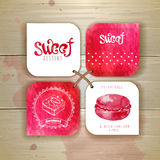 Grupo de etiquetas do doce ou da sobremesa Foto de Stock