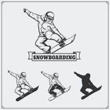 Grupo de etiquetas do extremo da snowboarding, de emblemas, de crachás e de elementos do projeto Imagem de Stock