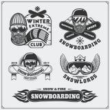 Grupo de etiquetas do extremo da snowboarding, de emblemas, de crachás e de elementos do projeto Símbolos da aventura da montanha Fotografia de Stock