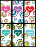 Grupo de etiquetas do fundo do Valentim Imagem de Stock