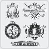 Grupo de etiquetas do golfe do vintage, de crachás, de emblemas e de elementos do projeto Imagem de Stock