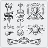 Grupo de etiquetas do golfe do vintage, de crachás, de emblemas e de elementos do projeto Fotografia de Stock Royalty Free