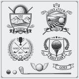 Grupo de etiquetas do golfe do vintage, de crachás, de emblemas e de elementos do projeto Fotos de Stock