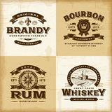 Grupo de etiquetas do álcool do vintage Imagens de Stock Royalty Free