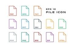 Grupo de etiquetas do original e de ícones dos formatos de arquivo PDF, MP3, TXT, XLS, PPT, CSV, MOVIMENTOS, DOC, RAR, PNG, EPS,  ilustração stock