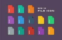 Grupo de etiquetas do original e de ícones dos formatos de arquivo PDF, MP3, TXT, XLS, PPT, CSV, MOVIMENTOS, DOC, RAR, PNG, EPS,  ilustração royalty free