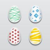 Grupo de etiquetas do ovo 3d com testes padrões diferentes para a Páscoa Fotos de Stock