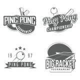 Grupo de etiquetas do pong do tênis de mesa/sibilo Fotografia de Stock Royalty Free