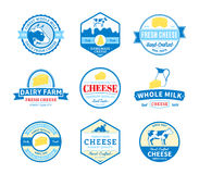 Grupo de etiquetas do queijo do vetor, de ícones e de elementos do projeto Imagens de Stock