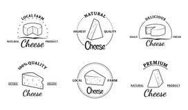 Grupo de etiquetas do queijo do vetor e de elementos do projeto ilustração do vetor