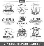 Grupo de etiquetas do reparo do vintage vol 1 Fotos de Stock