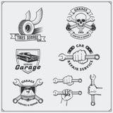 Grupo de etiquetas do serviço do carro, de crachás e de elementos do projeto Fotografia de Stock