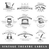 Grupo de etiquetas do teatro do vintage Imagens de Stock