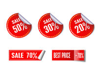 Grupo de etiquetas do vermelho da venda ilustração royalty free
