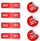 Grupo de etiquetas do vermelho da venda ilustração stock