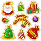 Grupo de etiquetas do vetor para o Natal em um estilo dos desenhos animados Santa Claus, caixas de presente, sacos com curvas, de Fotos de Stock