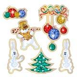 Grupo de etiquetas do vetor para os feriados de inverno O boneco de neve da dança da etiqueta em um chapéu e um ouro investem, co Fotografia de Stock Royalty Free