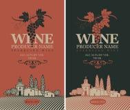 Grupo de etiquetas do vinho ilustração royalty free