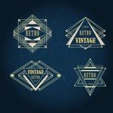Grupo de etiquetas do vintage do artdeco, logotipo, quadros Foto de Stock Royalty Free