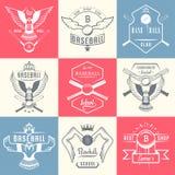 Grupo de etiquetas e de crachás do basebol do vintage ilustração royalty free