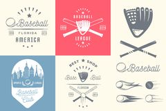 Grupo de etiquetas e de crachás do basebol do vintage ilustração do vetor
