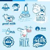 Grupo de etiquetas e de ícones para o leite Fotos de Stock Royalty Free
