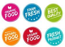 Grupo de etiquetas e de crachás coloridos para produtos amigáveis orgânicos, naturais, bio e do eco Imagens de Stock Royalty Free
