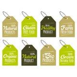 Grupo de etiquetas e de crachás para produtos amigáveis orgânicos, naturais, bio e do eco Fotos de Stock