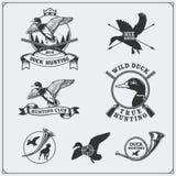 Grupo de etiquetas e de emblemas da caça com pato selvagem Fotos de Stock