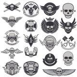 Grupo de etiquetas e de emblemas do motociclista ilustração royalty free