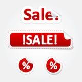 Grupo de etiquetas e de etiquetas dobradas venda Imagens de Stock Royalty Free