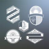 Grupo de etiquetas e de etiquetas monocromáticas Fotos de Stock Royalty Free