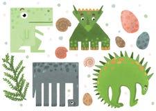 Grupo de etiquetas engraçadas geométricas do dinossauro ilustração royalty free