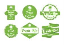 Grupo de etiquetas frescas e orgânicas Fotografia de Stock Royalty Free