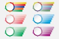 Grupo de etiquetas infographic modernas coloridas como um círculo se dividiu ilustração royalty free