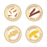 Grupo de etiquetas lisas do óleo essencial 100 por cento Cravos-da-índia, canela, gengibre, cúrcuma Foto de Stock Royalty Free