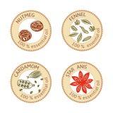 Grupo de etiquetas lisas do óleo essencial 100 por cento Noz-moscada, erva-doce, cardamomo, anis de estrela Foto de Stock Royalty Free