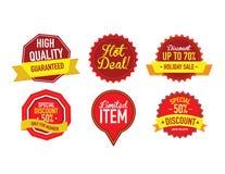 Grupo de etiquetas luxuosas da venda do vetor Imagens de Stock Royalty Free