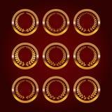 Grupo de etiquetas luxuosas do ouro Fotografia de Stock