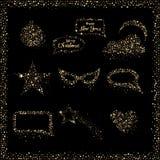 Grupo de etiquetas modernas dos ícones do Natal do brilho em cores do preto e do ouro Ilustração do vetor Sinais e símbolos do fe Imagem de Stock