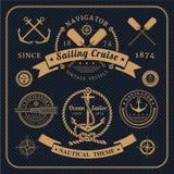 Grupo de etiquetas náutico do vintage no fundo escuro Imagens de Stock Royalty Free