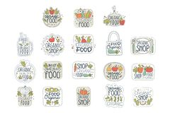 Grupo de etiquetas orgânico saudável fresco do logotipo do alimento do vegetariano Crachás com produtos naturais Linha arte com v ilustração royalty free