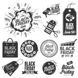 Grupo de etiquetas preto do vintage da venda de sexta-feira ilustração do vetor